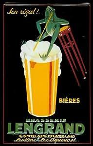Affiche métallique avec lengrand brasserie verre à bière en forme de grenouille