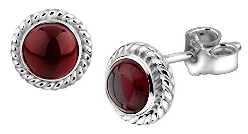 Nenalina Silber Ohrstecker Ohrring handgearbeitet besetzt mit echtem Granat Edelstein - 222999-001