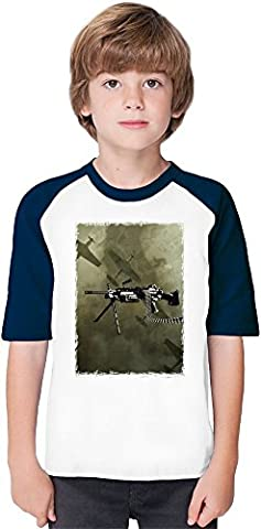 Machine Gun Soft Material Baseball Kids T-Shirt by Benito Clothing - 100% Organic, Hypoallergenic Cotton- Casual & Sports Wear - Unisex for Boys and Girls 12-14