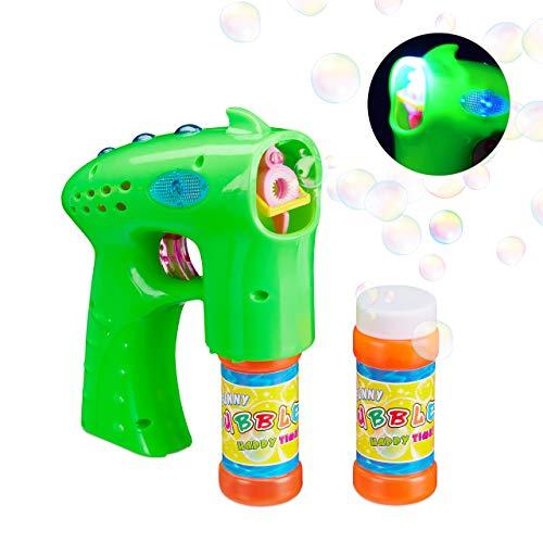 Relaxdays Seifenblasenpistole LED, mit Seifenblasen Flüssigkeit, batteriebetrieben, für Kinder, Hochzeit, Party, grün