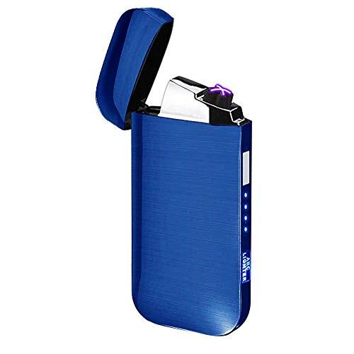Elektronisches Feuerzeug Dual Arc Lighter LED USB Elektrisches Feuerzeug Plasma wiederaufladbar flammenlos Winddicht Touch Switch Feuerzeug gut für Zigarren Zigarren Zigaretten Kerze Pfeife, blau