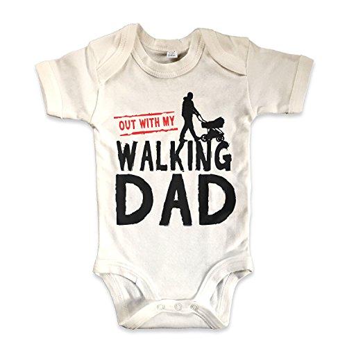 net-shirts Organic Baby Body mit THE WALKING DAD Aufdruck Spruch lustig Strampler inspired by the walking dead Babybekleidung aus Bio-Baumwolle mit Zertifikat, Größe 3-6 Monate, natur