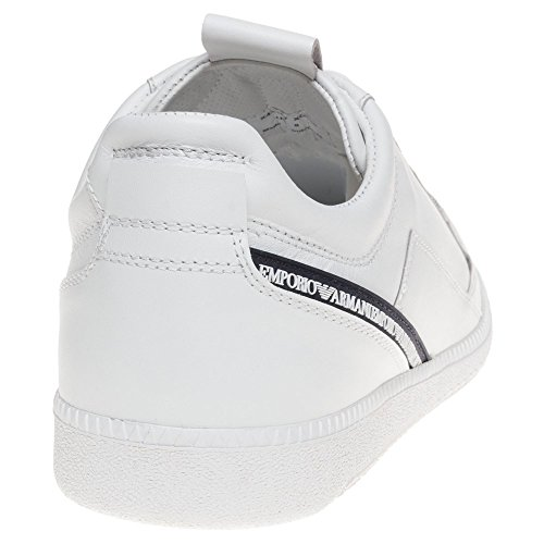 Emporio Armani Low Logo Homme Baskets Mode Blanc Blanc