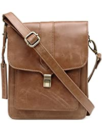 The House Of Tara Genuine Leather Unisex Crossbody Bag (Distress Tan) HTMB 071