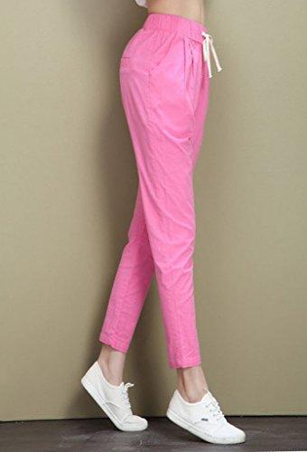 Bigood Femme Crayon Pantalon Harlan Lâche Confortable Casual Vogue Rose