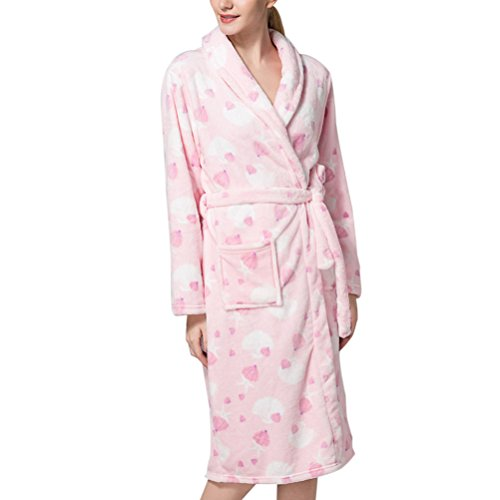 Zhhlinyuan Prämie Qualität Womens Floral Prints Supersoft Warm Coral Fleece Bathrobes Sleepwear Dressing Gown Long Bath Robe Housecoat Knee Length (Fleece Knee Warmers)
