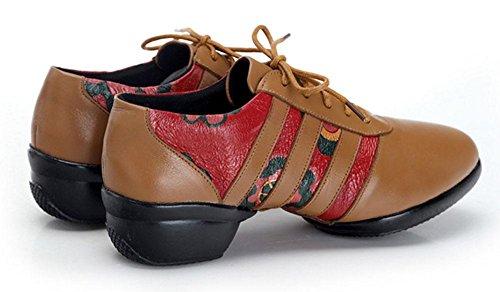 SHIXR Frauen Nationale Wind Dance Schuhe Damen Square Dancing Schuhe Leder Jazz Schuhe Sport Freizeit Fitness Schuhe Yellow