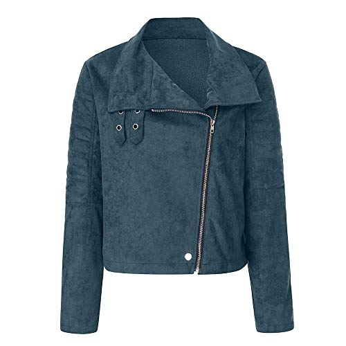 MERICAL Damen Retro Rivet Zipper Up Bomberjacke Lässig Mantel Outwear(Large,Blau)
