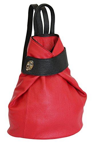 Rot Leder Mode (AMBRA Moda echt Leder Damenrucksack CityRucksack Daypack GL014 (Rot+Schwarz))