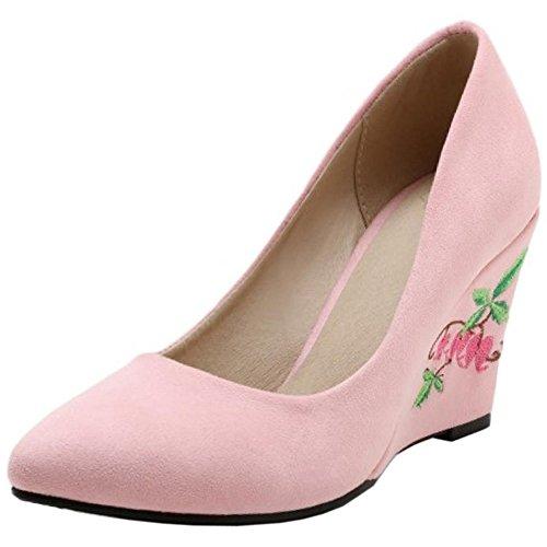 e2e1f976cbac7e COOLCEPT Damen Klassische Chinese Embroidery Schuhe Fashion Keilabsatz  Ladies Hochzeit Pumps 782 Pink