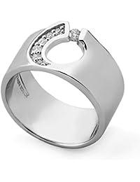 Jorge Revilla Plata 10pts Diamante Anillo - Remolino Colleción - Rhodium Plated - Size M 1/2