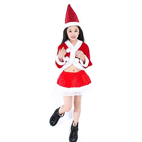 FAFY Erwachsene Weihnachtskostüm Für Kinder, Bühnenleistungskostüm, Theaterkostüm, Einschließlich Hüte, Tops Und Röcke, 110cm-150cm,110cm