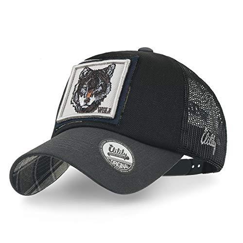 ililily Wolf REH Tier Rechteck Flicken Freizeitkleidung Netz Baseball Cap Trucker Cap Hut (Medium, Black Wolf)