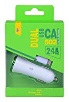 ONE PLUS 1/2 A In Car Charger with 2 USB Slots and Cable for Apple iPhone 5/6 - Green