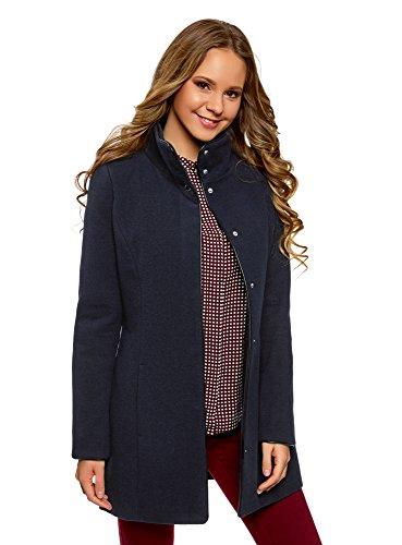 oodji Collection Damen Mantel mit Stehkragen und Lederimitat-Besatz, Blau, DE 36 / EU 38 / S