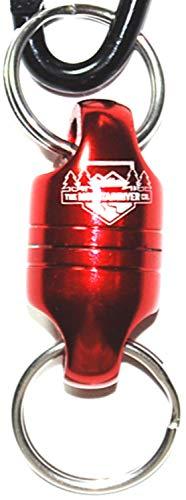The MountainRiver Co. Das Original abnehmbare magnetische Schlüsselanhänger-Halter aus Edelstahl mit starkem Magnet und Schnellspanner, zum Ausziehen von Schlüsselanhängern für Herren rot -