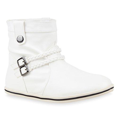 Sportliche Damen Stiefeletten Schnallen Zierknöpfe Flache Boots Schuhe 115756 Weiss 38 Flandell