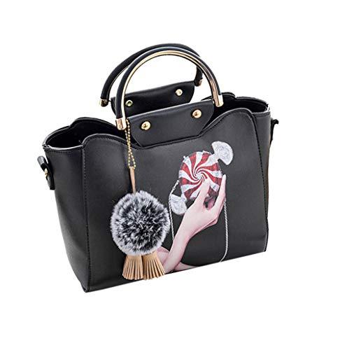 JUND Mode Druck Messenger Bag Damen Ledertasche Schick Quaste Anhänger Umhängetasche Einfach Ethno Handtasche (Einfache Halloween-kostüme Office)