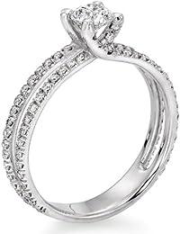 Zertifikat Klassischer 18 Karat (750) Gelbgold Damen - Diamant Ring Round 0.88 Karat F-SI2 (Ringgröße 48-63)