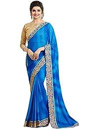 Krishna Fab Women's Georgette Saree With Blouse Piece (A12_Light_Blue,Blue,Free Size)