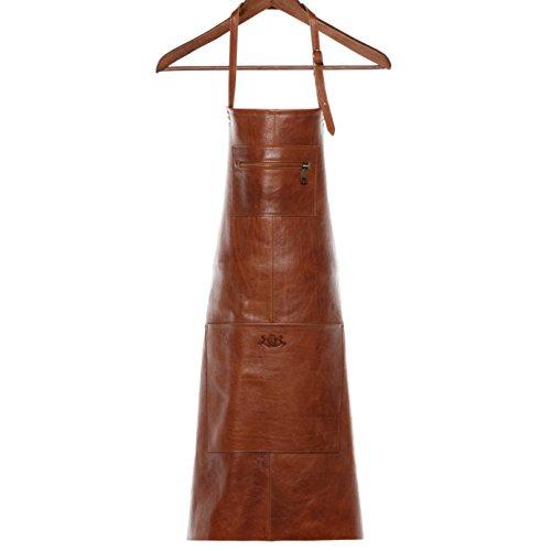 SID & VAIN grembiule barbecue vera pelle HEATHROW grande Grembiule per cuochi Grembiule per grigliate uomo donna cuoio marrone
