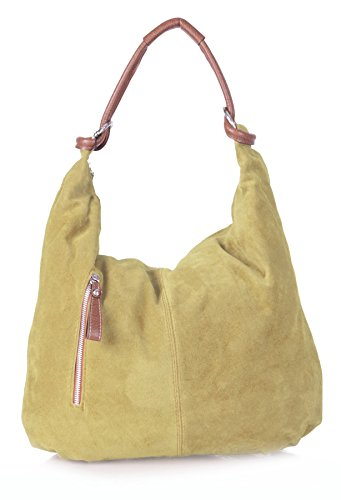 Big Handbag Shop - Borsa a spalla da donna, grande, in vera pelle scamosciata italiana Light Tan (BH148)