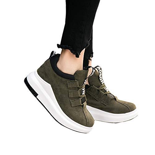 (MYMYG Sneakers Damen Turnschuhe High Top Laufschuhe Wanderschuhe Sportschuhe Mode Frauen Lace-up Erhöhung Schuhe Soft Bottom Rocking Schuhe)