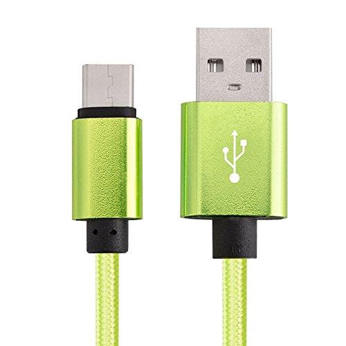 USB Datenkabel Grün NYLON | Typ C | USB 3.1 | für Samsung Galaxy S9/Plus, S8/Plus, Note8, A3 A5 A7 von 2017, Galaxy Book, Tab S3, Tabpro S/S2 | Ladekabel | USB-Kabel | HTC | SONY | LG | Meizu | Google | Apple | Nokia | USB Datenkabel mit Typ C (Galaxy Tab Pro Netzkabel)