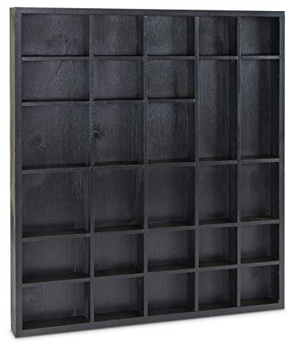 n in Größe L für Sammelgegenstände - Kiefer Schwarz - ca. 45 x 40 x 4 cm ()