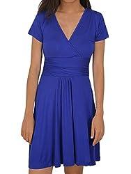 HENCY Women's Summer Autumn Dress V Neck Short / Long Sleeve Plain Dress, Elegant Empire Waist Pleated A-line Beachwear Beach Holiday Dress Knee Long