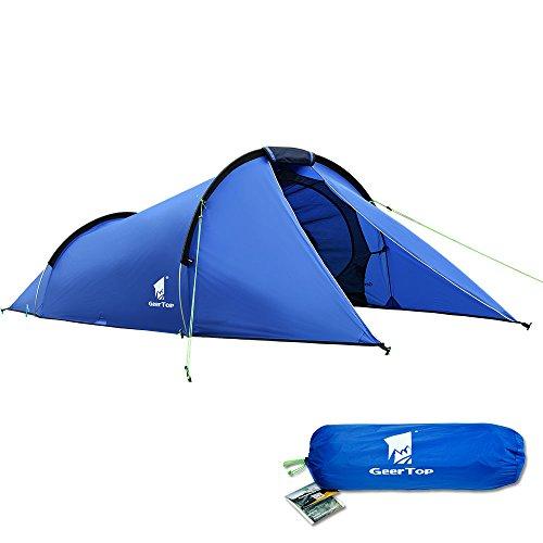 GEERTOP Tunnelzelt Campingzelt Trekkingzelt Familienzelt Leichtes Wasserdichtes 2 Personen - 290 x 210 x 100H cm (1,7kg) - für Camping Wandern Trekking Rucksackreisen und Outdoor Trips