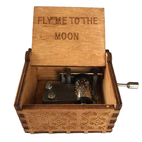 Geschnitzten Tisch (Spieldose, Klingen Kinder Spielzeug Heim Geschenke Buchstaben DIY Geschnitzt Holz Hand Gekrümmt Dekoration Tisch Basteln Verzierungen Show, Fly me to The Moon)