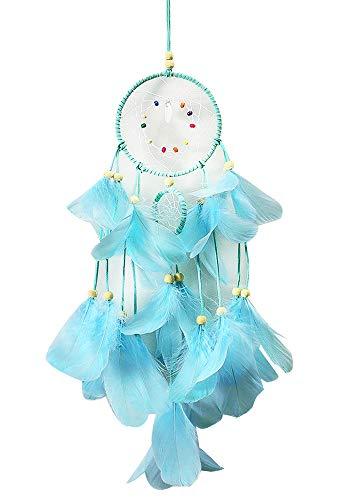 Mangotree Indische Handgefertigte Mond und Sterne Dreamcatcher Gute Dream Catcher Spitze Feder Filet Ornament Vintage Home Dekore Ornament Hängen (LED Traumfänger - Blau) -