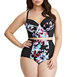 QingJiu Damen Plus Size Print Gestreiften Split Badeanzug Beachwear Bikini Badeanzug (XXX-Large, Schwarz)