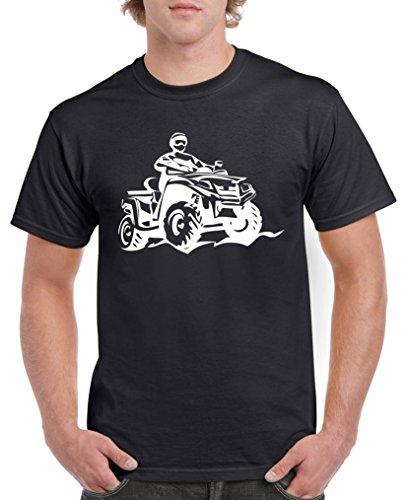 Comedy Shirts - Quad ATV - Herren T-Shirt - Schwarz/Weiss Gr. L