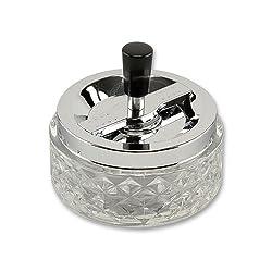 Schleuderaschenbecher aus Kristallglas Chrom klar silbermetallic