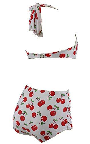 Aloha-Beachwear Damen Bikini A1044 Weiss/Kirschen Gr. 44 -