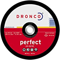 Dronco A24/30P-115 Discos de Desbaste, A 24/A 30 P Perfect, Metal, 115 Mm Diámetro, 6 Mm Espesor, 22.23 Mm Diámetro Eje, 13,280 RPM, Set de 10