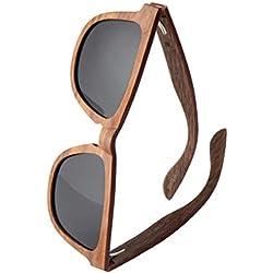 WOLA estilo cuadradas gafas de sol en madera AERO mujer y hombre madera, sunglasses UV400 - polarisado nogal gris