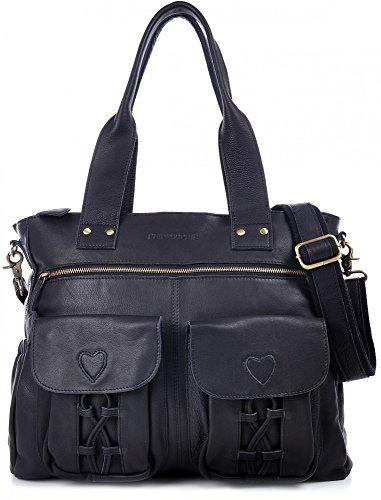 Preisvergleich Produktbild PHIL+SOPHIE, Cntmp, Damen XL Leder Wickeltaschen, Diaper Bags, Babytaschen, Buggy-Taschen, Leder Taschen, Schwarz, 40x35x11cm (B x H x T)
