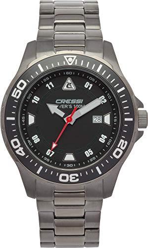 Cressi Manta Watch Reloj Submarino, Negro/Correa de Acero INOX Plata Gun, Uni