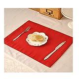 YAOSHI-Tablecloth Tovaglia Rettangolo Resistente all'impregnazione della stuoia della stuoia della stuoia della stuoia del Doppio Strato Rosso Puro Semplice (Color : Red, Size : 15.7in*11.8in)