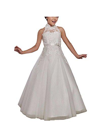 DreamyDesign Spitze Tüll Blumenmädchenkleid Hochzeit Festkleid Kommunionkleid mit Knopf Hinter