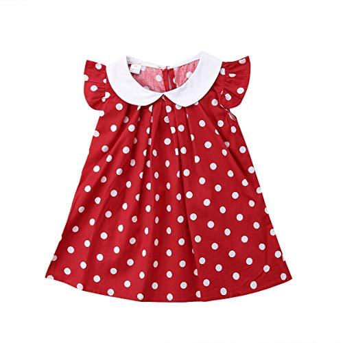 bebé niña Vestido de Lunares, Verano Vestido sin Mangas Bebes niñas Princesa Vestido de Fiesta de Volantes Rojo 6-12 Meses