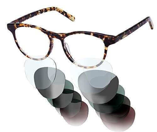Sym Brille aus Acetat mit HD Gläsern und wählbarer Sehstärke (von -4.00 bis +4.00) | Modell 03 | Light Tortoiseshell Effect | High Gloss