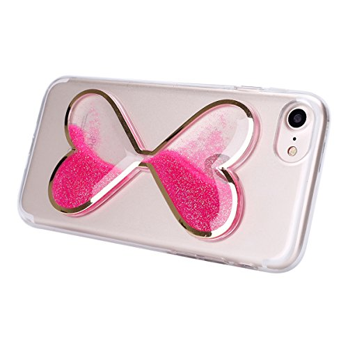 iPhone 6 Custodia, iPhone 6S Cover, iPhone 6/6S Custodia Silicone Trasparente, JAWSEU Cristallo di lusso Scintilla Scintillio Flowing Liquid Bling Bling Glitter Custodia Cover per iPhone 6S Ultra Sott Rosa Caldo
