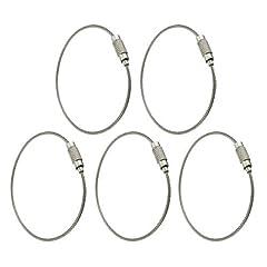 Idea Regalo - SODIAL (R) 5pcs in acciaio inox Vite di bloccaggio del filo portachiavi Portachiavi Cable Accessori Outdoor