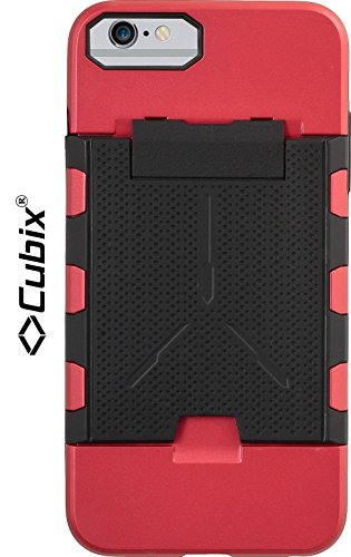Cubix® Shock proof case for Apple iPhone 6 Plus Fusion Series Back Cover Slim Armor Case Card Slot Rugged Case 4 Side Protection - Blood Red  available at amazon for Rs.799