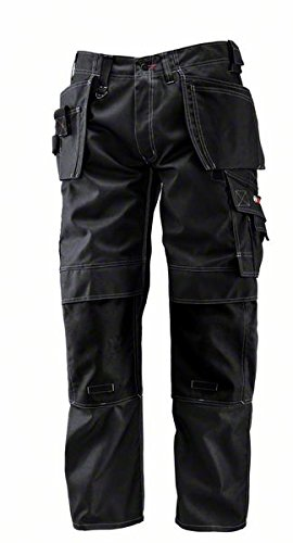 Bosch WHT 09 - Pantaloni professionali con tasche esterne, misure: vita 76 cm, gamba 81 cm, colore: Nero