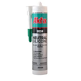 Akfix SA511 Clear 905N Silicone Neutral, 10.5 fl. oz. Cartridge, 310 mL (Pack of 24)
